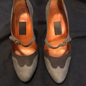LANVIN Grey Leather Mary Jane Pumps - RARE - EU 39